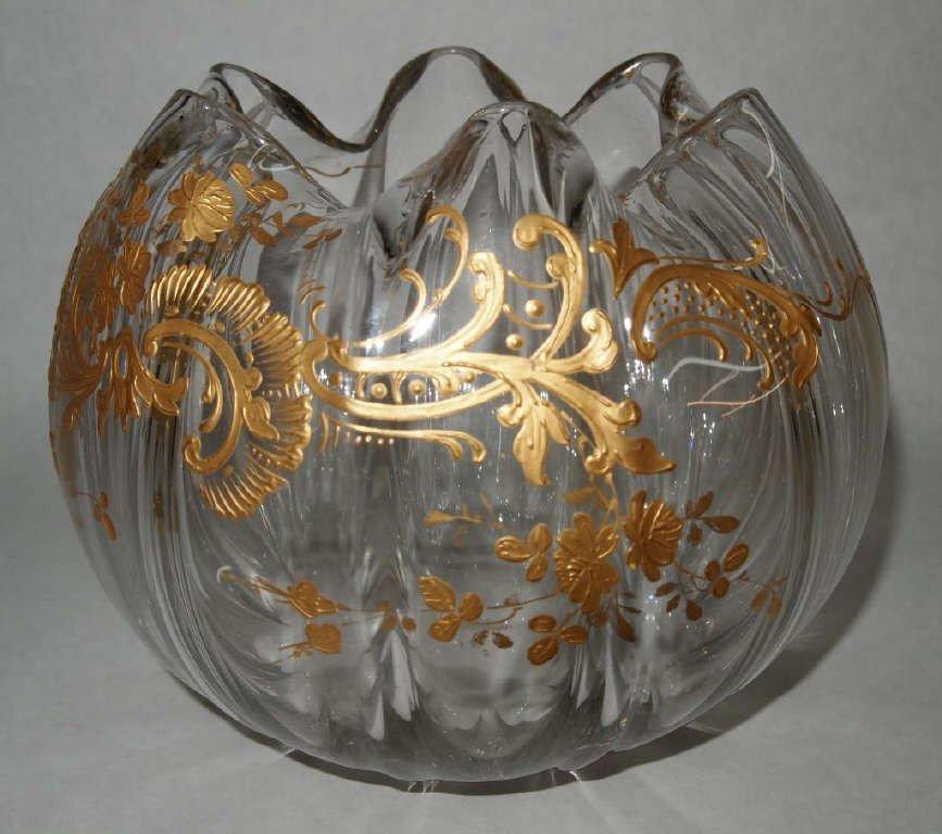 100: Moser Gold Enameled Center Piece