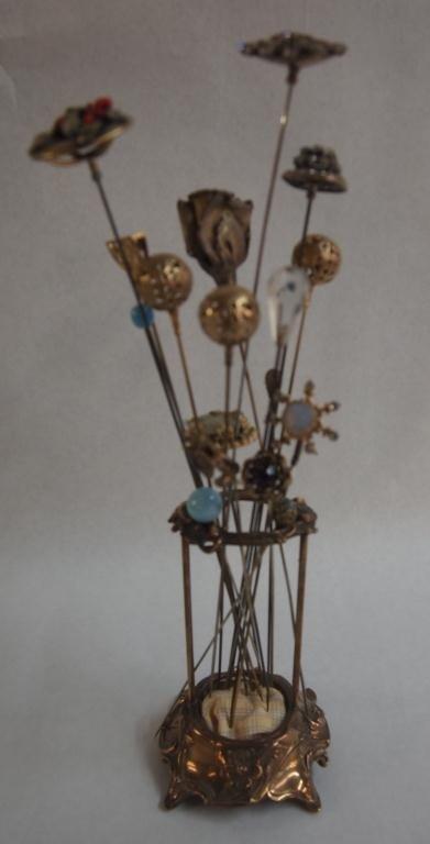 3: Vintage Victorian Hat Pins & Holder