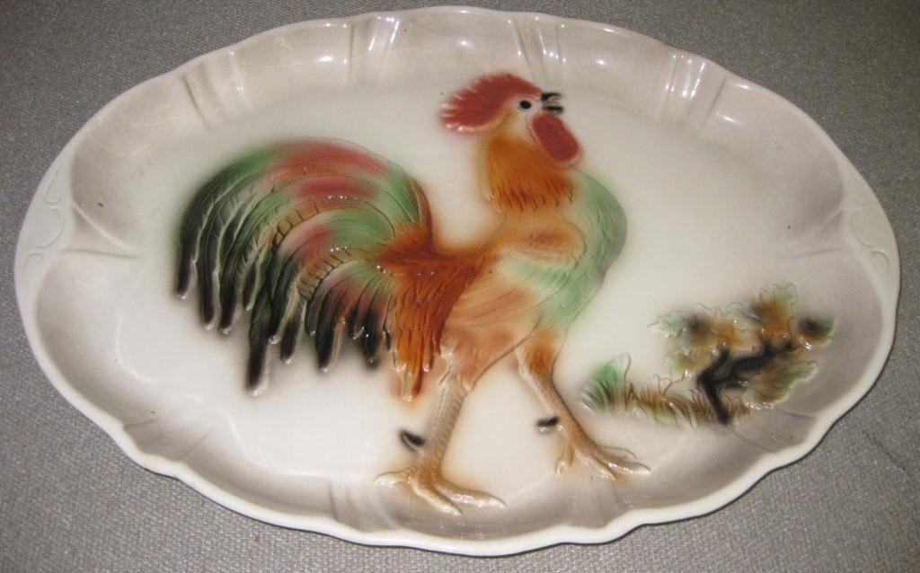 1: Large California Made Rooster Platter