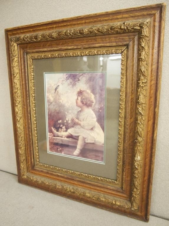 "11: ""Young Girl With Blue Bird"" in Vintage Oak Frame"