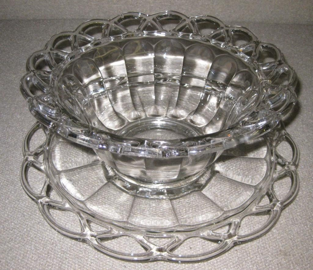14: Open Lace Glass Bowl & Plate