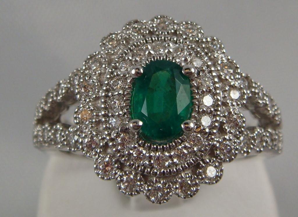 133: 14k White Gold Emerald & Diamond Ring