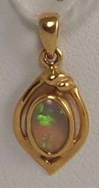 12: 18k Yellow Gold Oval Opal Pendant