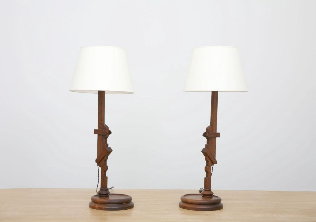 In the style of Pierre Chareau, Pair of table lamps