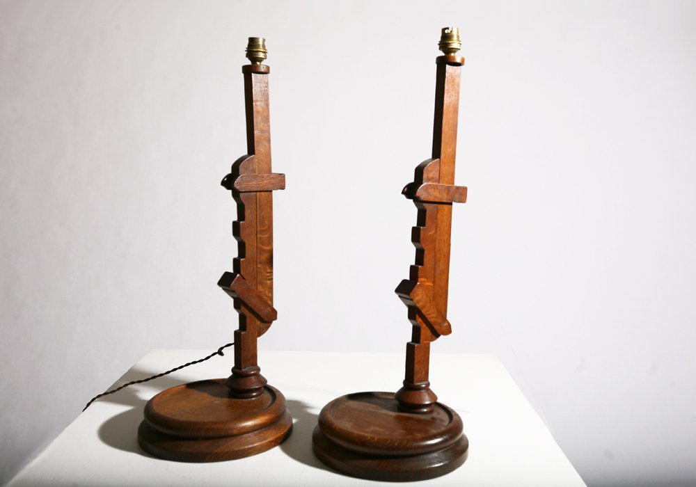 In the style of Pierre Chareau, Pair of table lamps - 4