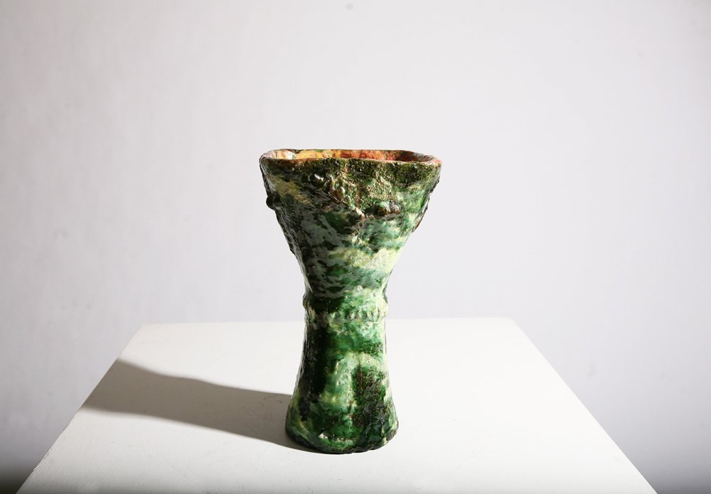 Accolay, Green ceramic vase, c. 1960
