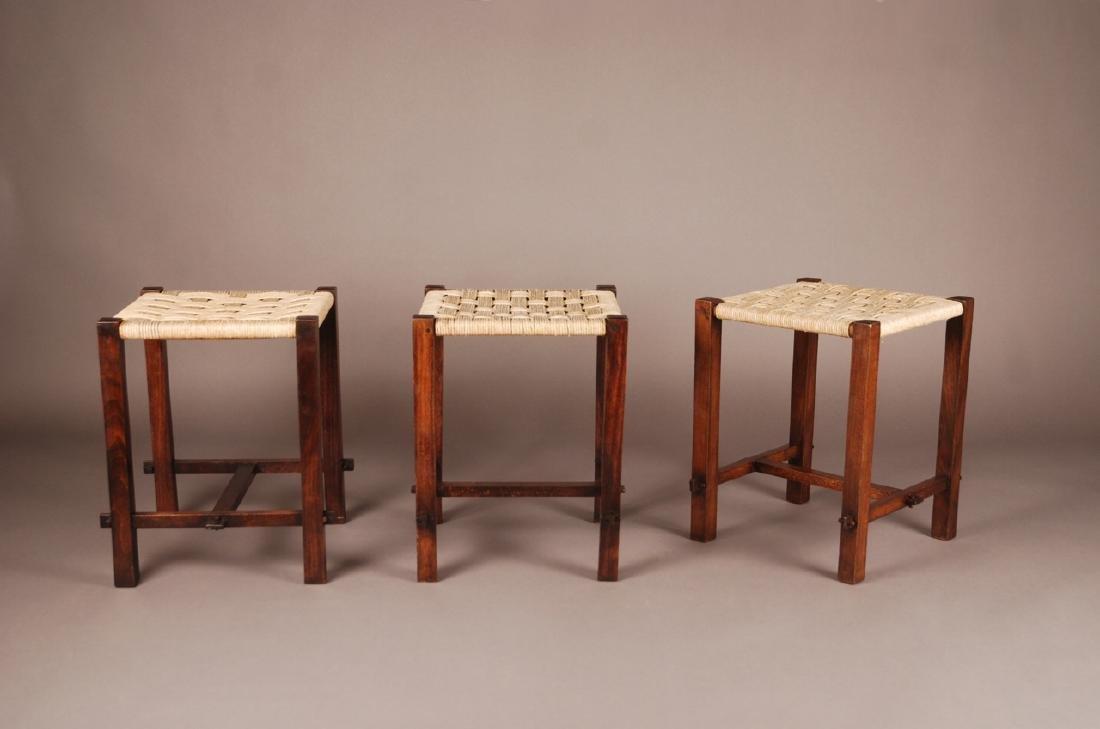 French 1950, Set of 4 stools, c. 1950