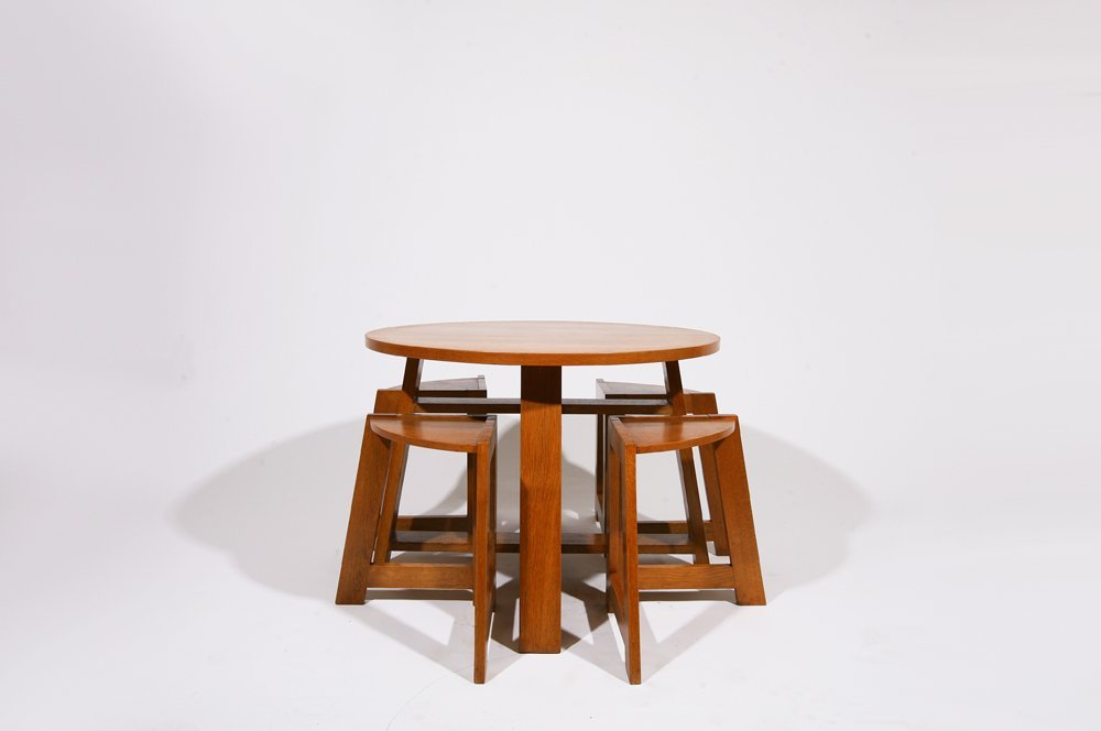 R. Guerard, Low table with four stools, c. 1950