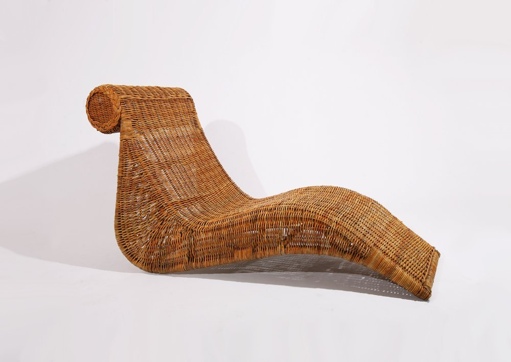 French 1950, Cane lounge chair , c. 1950