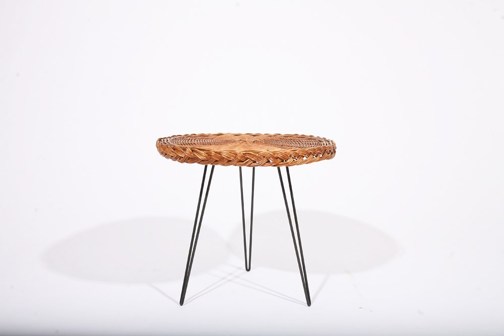 French 1950, Rattan Small Table, c. 1950