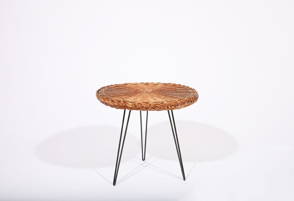 French 1950, Rattan Small Table, c. 1950 - 2