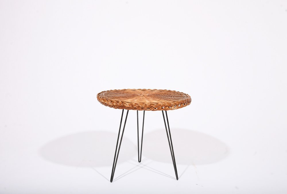 French 1950, Rattan Small Table, c. 1950 - 4
