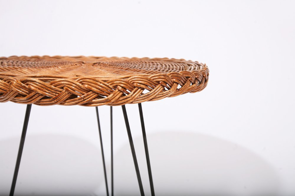 French 1950, Rattan Small Table, c. 1950 - 5