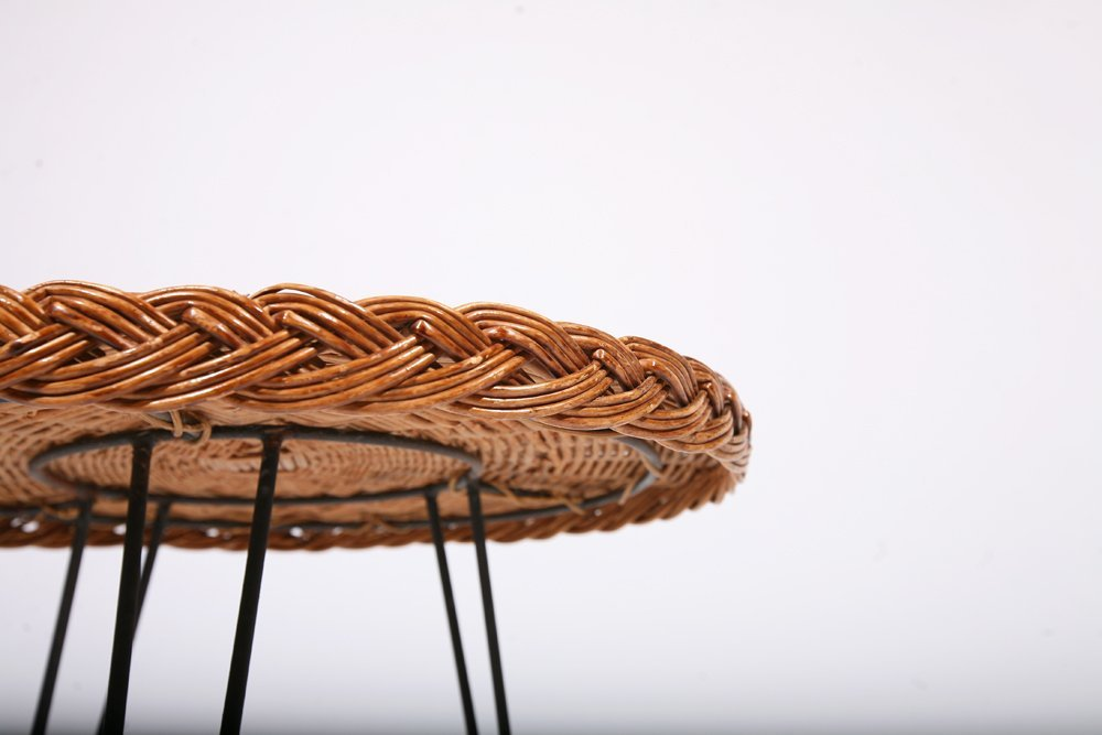 French 1950, Rattan Small Table, c. 1950 - 6