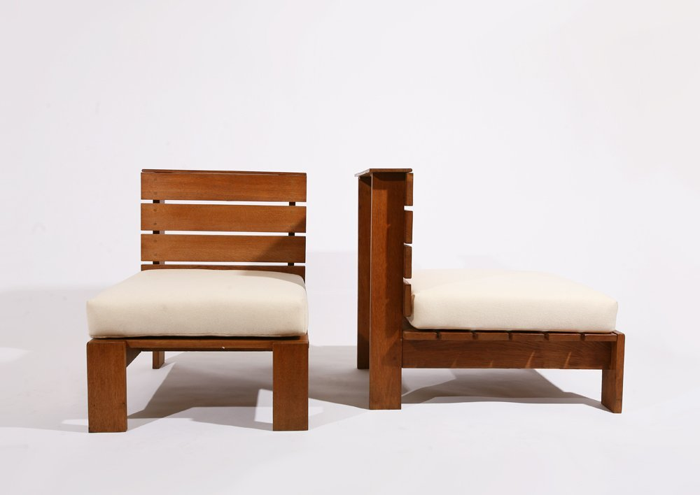 Style of Pierre Chapo, Pair of lounge chairs, c. 1950