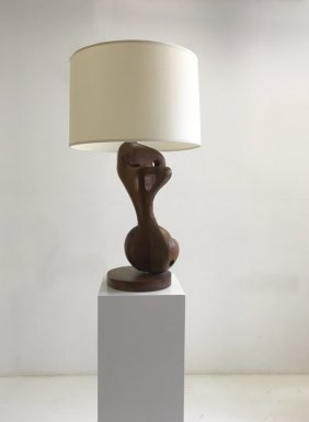 French 1950 - Wood Sculptural Table Lamp, C. 1950