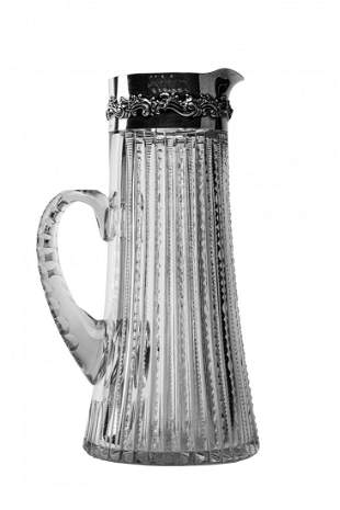 19th Century Cut Glass & Sterling Pitcher