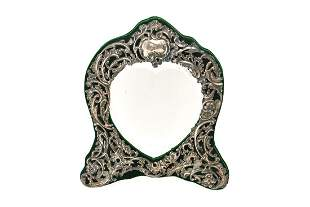 Repousse Sterling Silver HeartShaped Mirror