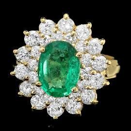 14K YELLOW GOLD 1.70CT EMERALD 1.45CT DIAMOND RING
