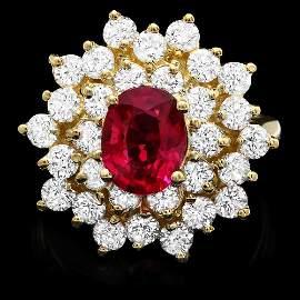14K YELLOW GOLD 1.50CT TOURMALINE 2.10CT DIAMOND RING