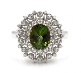 Oval Cut Green Tourmaline Diamond Coctail Ring In 14k