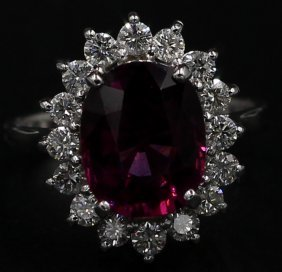4.97 Ct. Oval Cut Pink Rhodolite Diamond Band Ring