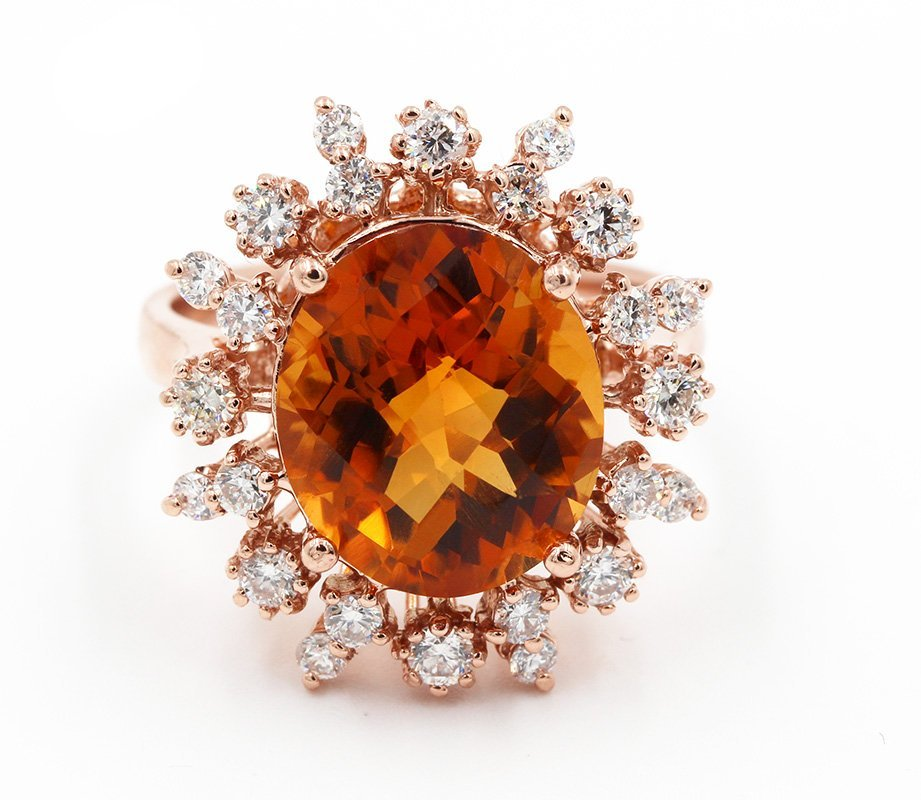 6.21 Ct Oval Cut Madeira Citrine & Round Diamonds Anniv