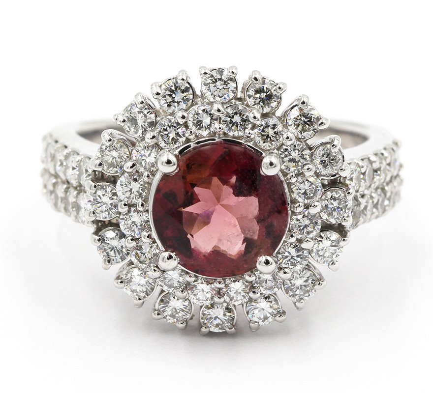 3.03 Carat Round Cut Pink Tourmaline Diamond Engagement