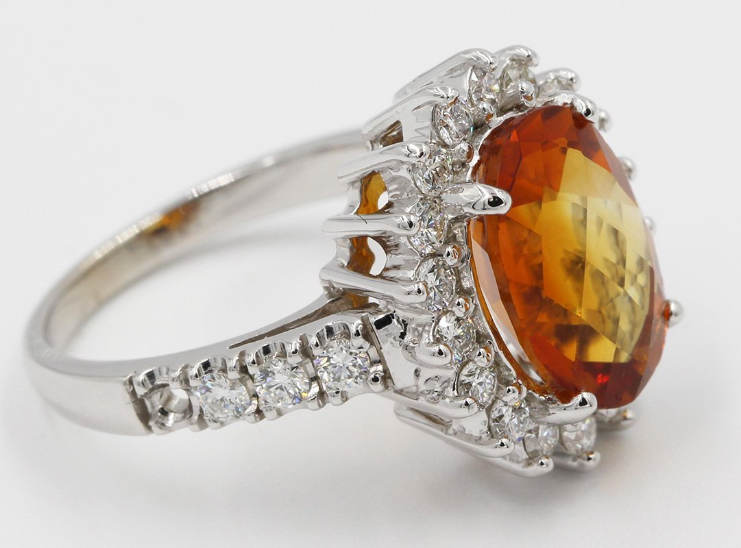 4.25 Carat Fancy Oval Cut Madeira Citrine Diamond
