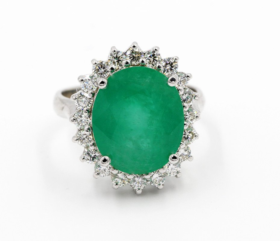 6.91 Carat Oval Cut Emerald Diamond Anniversary /