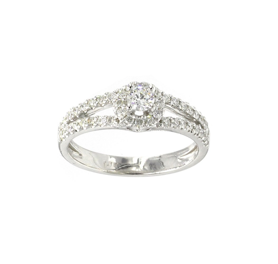 0.62 Ct. Round Cut Diamond Halo Solitaire w/ Accent