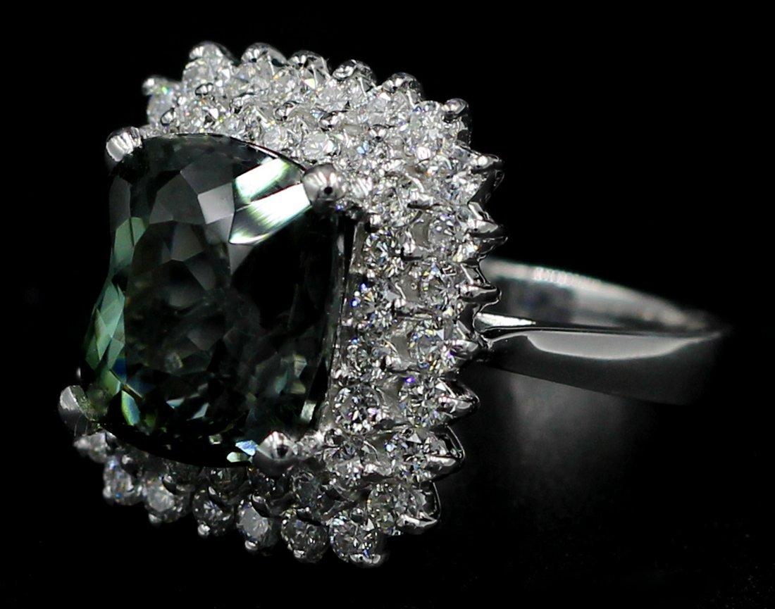 8.39 Ct. Oval Cut Natural Green Tourmaline Diamond Band