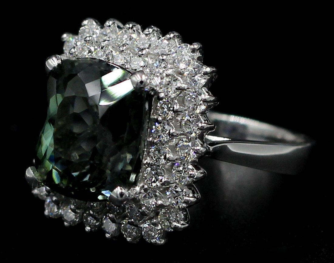 8.39 Ct. Oval Cut Natural Green Tourmaline Diamond Band