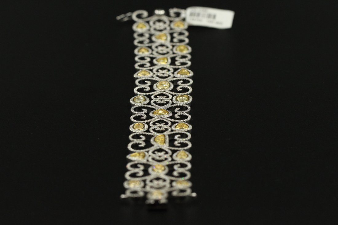 14.45 Carat Ladies Bridal Bracelet Fancy Yellow & White