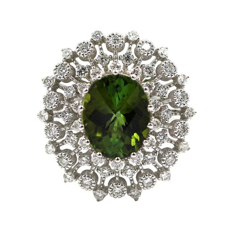 2.71 Ct Oval Cut Green Tourmaline Anniversary Diamond