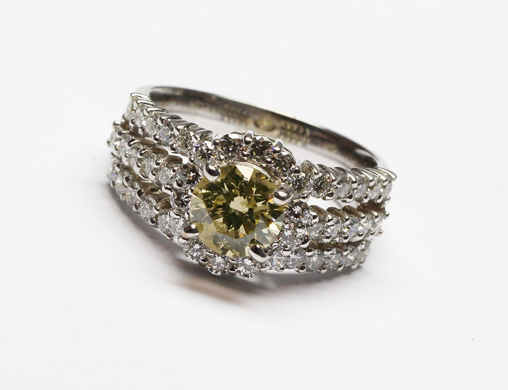 2.15 Ct. Round Cut Fancy Yellow Diamond Engagement Ring