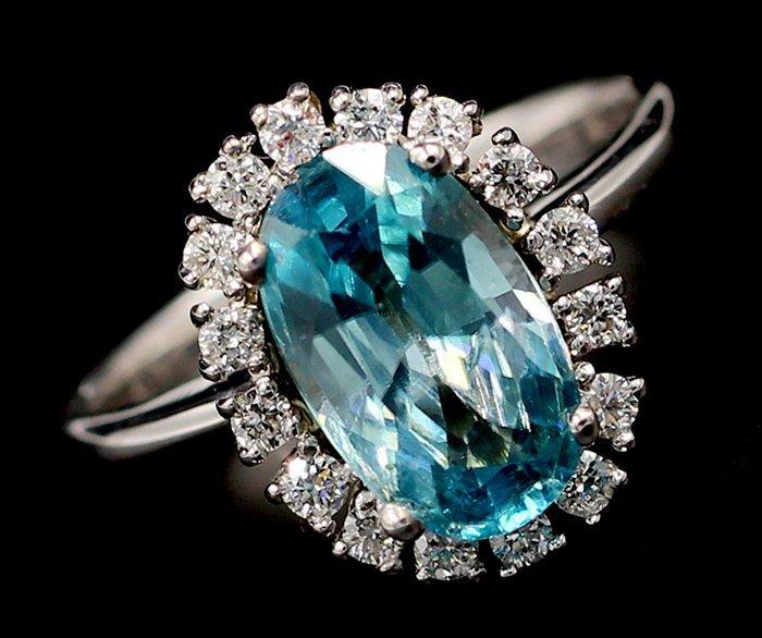 3.96 Ct. Oval Cut Natural Zircon Diamond Band Ring