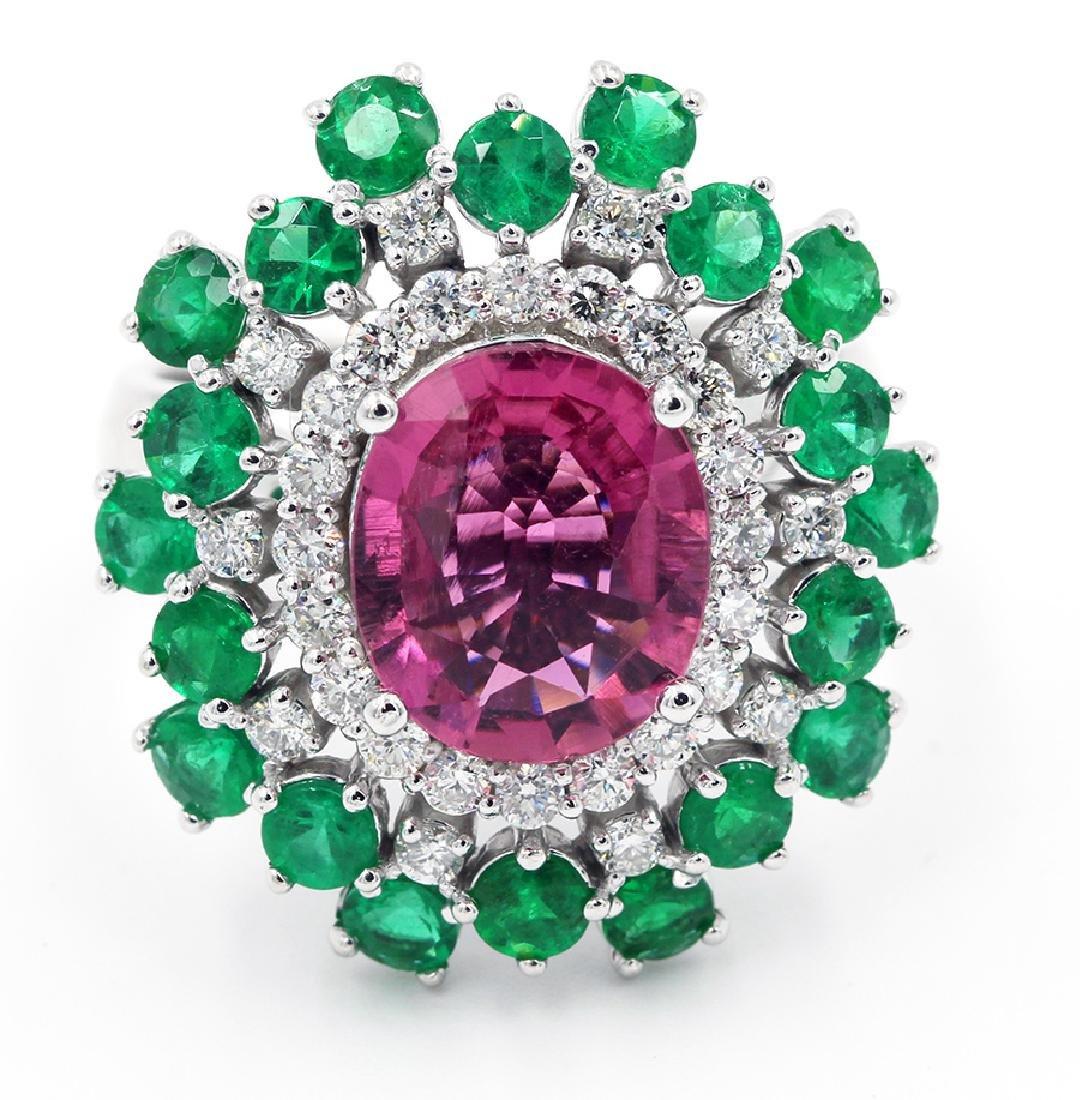5.66 Ct. Oval Cut Pink Tourmaline Diamond Engagement