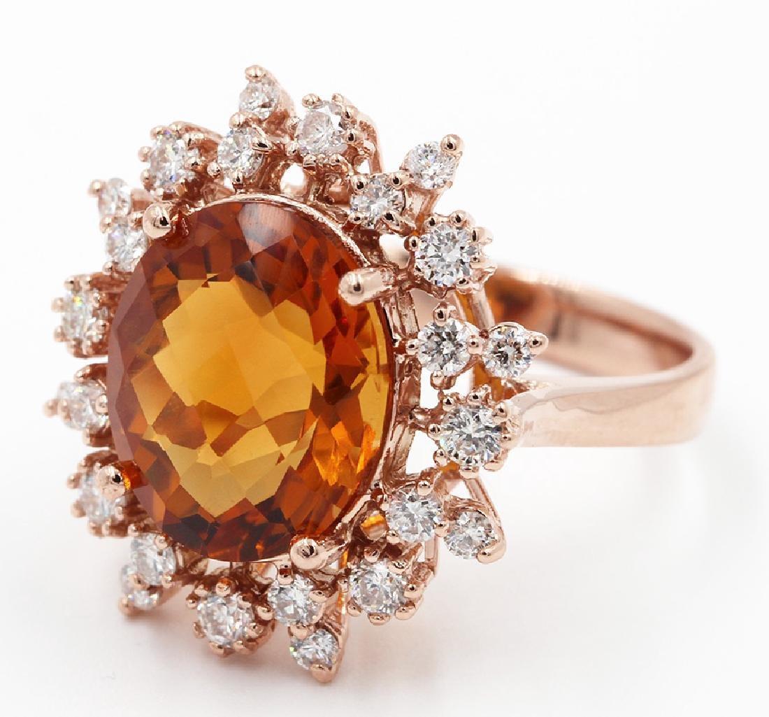 6.21 Ct Oval Cut Madeira Citrine & Round Diamonds
