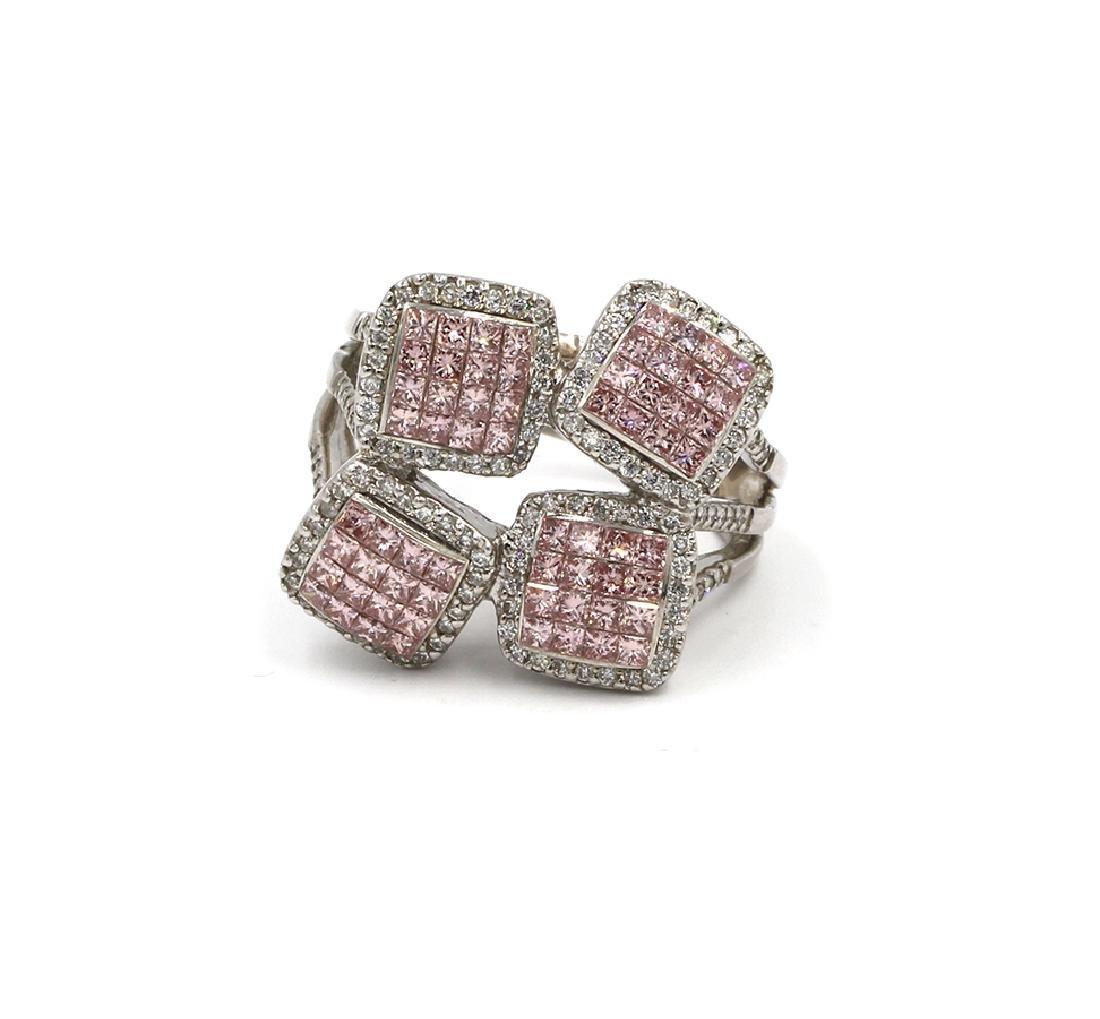 2.04 Carat Fancy Pink Diamond Ring Princess Cut