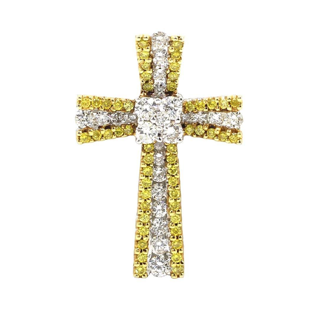 1.36 Carat Round Cut Fancy Yellow Women's Diamond Cross