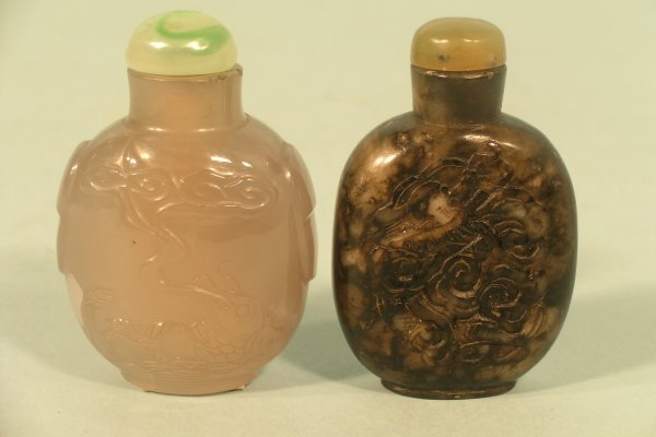 8C: A Chinese carved smoky crystal snuff bottle,