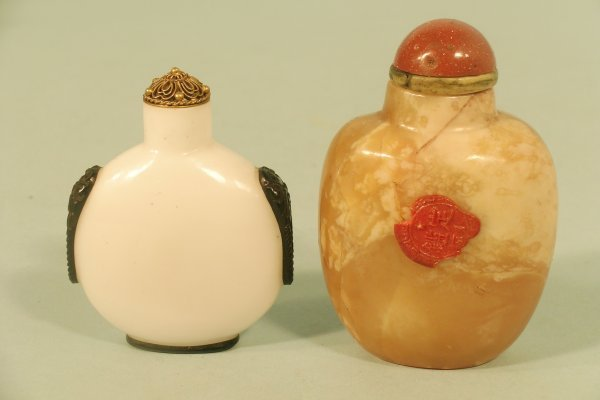 10C: A Chinese black and white glass snuff bottle,