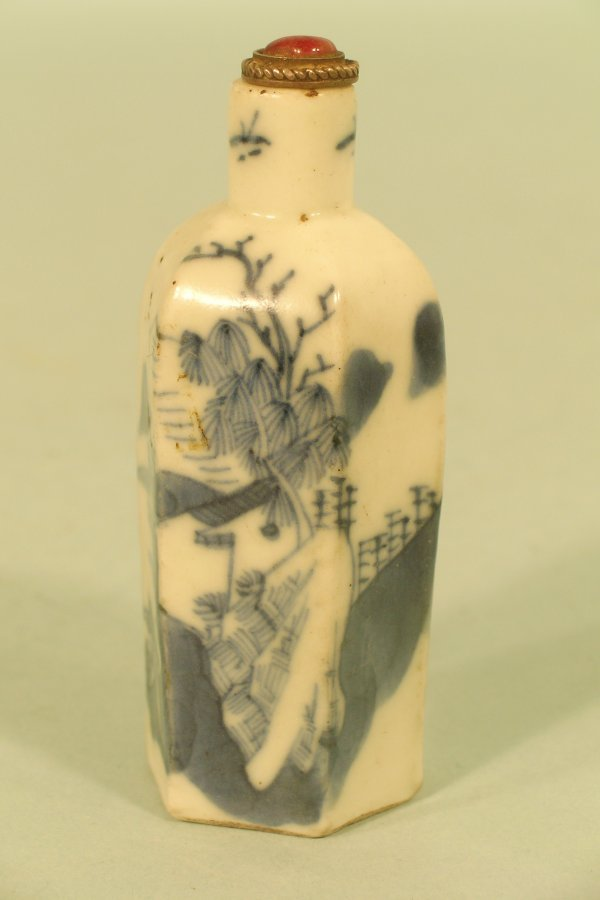 14C: A Chinese blue and white porcelain snuff bottle,