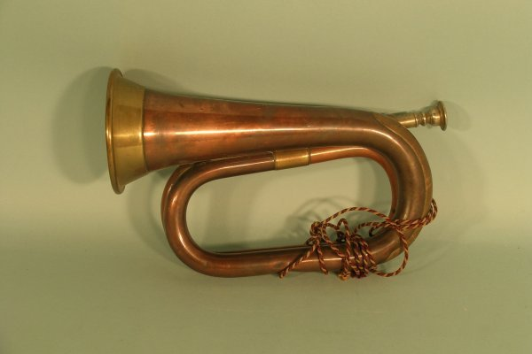 16D: Copper and brass bugle by Hawkes & Son, London, 19