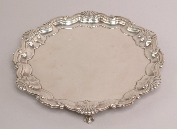 21: A Victorian silver card salver, by R.M and E.H, Lon