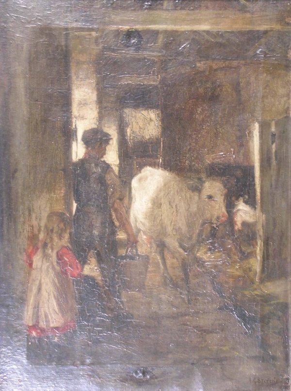 363: Albert George Stevens (1863-1925), 'Milking Time',