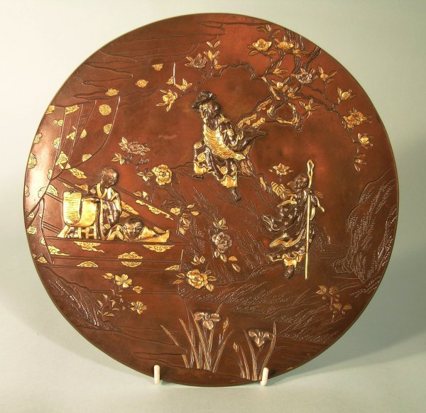 1C: A Japanese bronze and gilt metal plate, Meiji perio