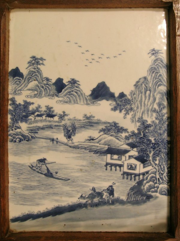 2C: A Chinese blue and white tile picture, Qing dynasty