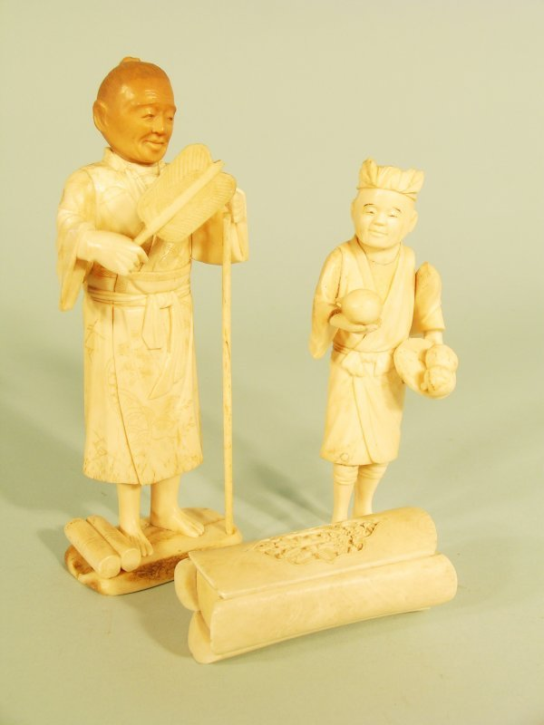 10C: Two Japanese sectional ivory figures, Meiji period